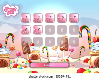 Cartoon fairy tale candy background user interface UI cartoon style. Candy sweet element, loading computer game vector illustration