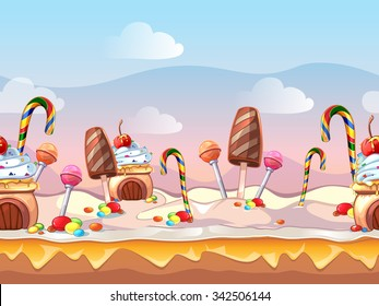 Cartoon fairy tale candy seamless background for computer game. Sweet design, food decoration, dessert cake, vector illustration