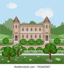 Cartoon fairy tale castle or rich mansion in green summer landscape, Scene with Victorian style manor house, trees and bushes in blossom surrounded by forest. Vector illustration