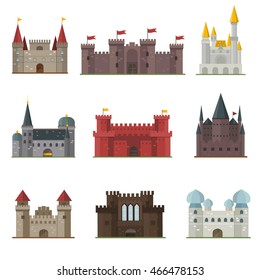 Cartoon fairy tale castle tower icon