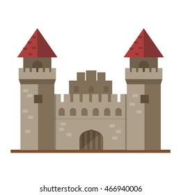 Cartoon fairy tale castle tower icon