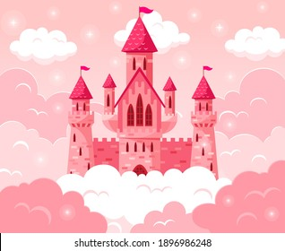 Cartoon fairy tale pink castle. Magic fairytale medieval tower, princess castle in pink clouds vector fabulous illustration. Majestic pink castle. Girlish beautiful dream mansion made of stone