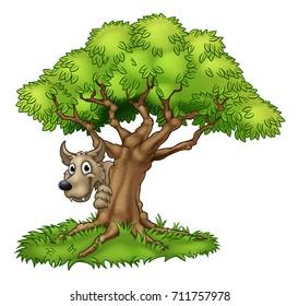 A cartoon fairytale big bad wolf character or werewolf peeking from around a tree