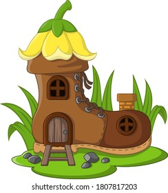 Cartoon fairytale house boots with roof of yellow bellflower