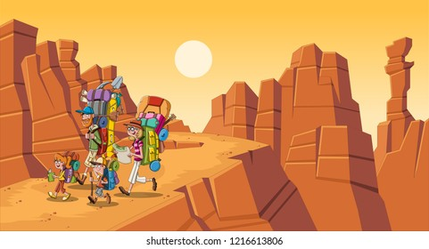 Cartoon family with big backpacks in the desert. People hiking on canyon background.