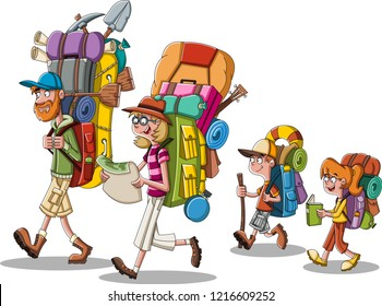 Cartoon family with big backpacks. People carrying camping gears.