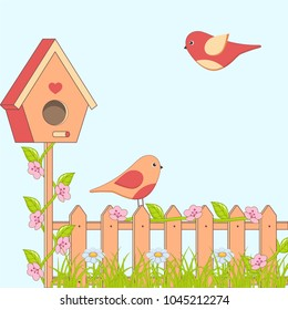 Cartoon family of birds with flowers and birdhouse. Vector illustration.