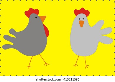 Cartoon Family chicken and rooster vector. Chicken poster. Chicken vector illustration. Rooster for advertising. For packing  chicken. Chicken logo.