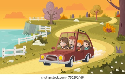Cartoon family driving a car in the park. Road on nature background.