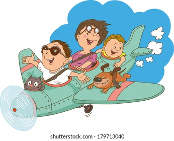 Cartoon family, flying on an airplane. Everyone is happy and cheerful.