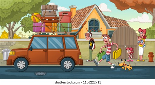 Cartoon family in front of a house. Car with luggages. Suburb neighborhood