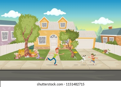 Cartoon family in front of a house. Suburb neighborhood