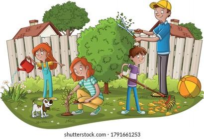 Cartoon family gardening. People working in the garden.