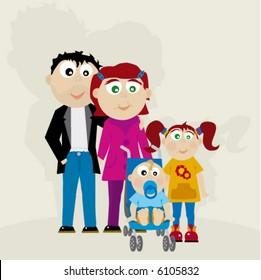 cartoon of family happy and fun