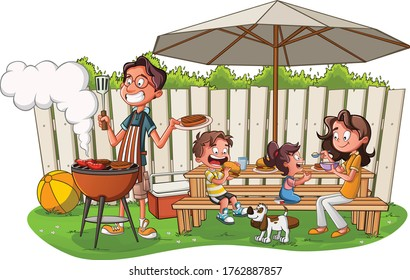 Cartoon family having barbecue. Family in the yard on a sunny day.