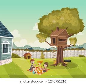 Cartoon family having picnic on the backyard of a colorful house in suburb neighborhood. Tree house on the backyard.