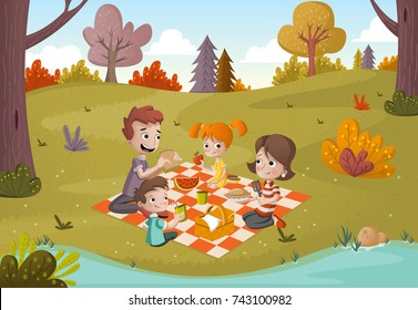 Cartoon family having picnic in the park on a sunny day. Nature background.