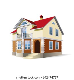 Cartoon family house. Two storey stone house on white background. Vector illustration, 3d render.