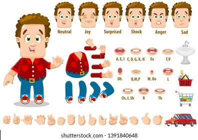 Cartoon family man constructor for animation. Parts of body: legs, arms, face emotions, hands gestures, lips sync. Full length, front, three quater view. Set of ready to use poses, objects.