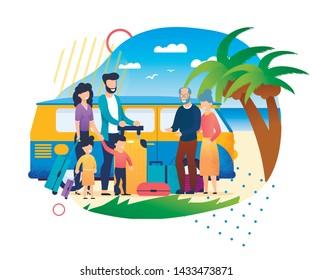 Cartoon Family Meeting Outdoors at Beach Father Mother Children Grandparent Vector Illustration. Happy Grandmother Grandfather Grandchildren. Kid Summer Holidays. Sea Vacation Minivan Trip