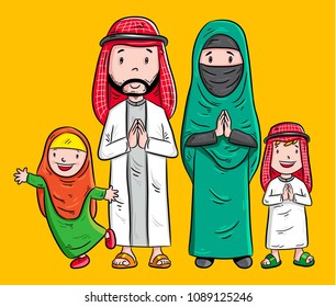 cartoon family of moslem, arabian character vector