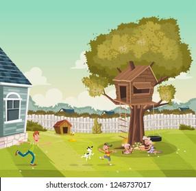 Cartoon family on the backyard of a colorful house in suburb neighborhood. Tree house on the backyard.