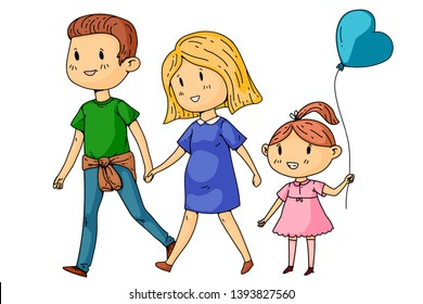 Cartoon family with pregnant woman and little children.
