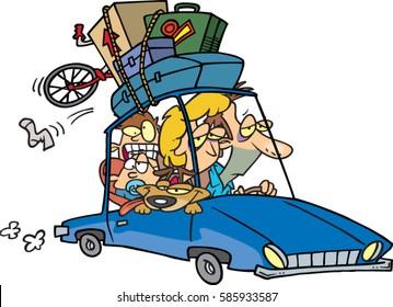 cartoon family returning from vacation
