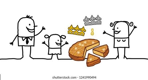 Cartoon Family sharing an Epiphany Cake