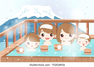 cartoon family smile and enjoy with hot spring