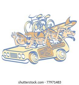 Cartoon family in station wagon on vacation.