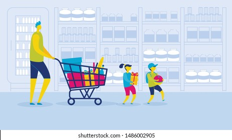 Cartoon Family in Supermarket Vector Illustration. Father with Shopping Cart Trolley Buy Grocery. Daughter and Son Walking. Hypermarket Shopper, Mall, Hypermarket Consumer, Food Store