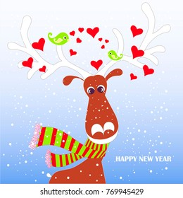 Cartoon fan, cute reindeer in red striped scarf with white horns, green lovebird, hearts on blue, snow, Happy New Year stock vector illustration for typography banner, for congratulation card, greetin