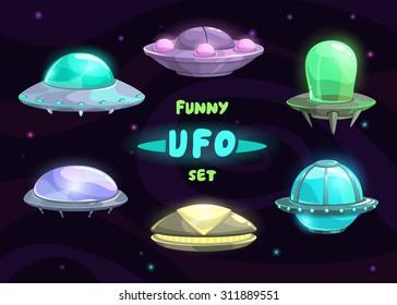 Cartoon fantastic ufo set, vector space collection