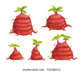 Cartoon fantasy alien monster plants with big red roots and green leaves. Vector nature elements set. Isolated on white background
