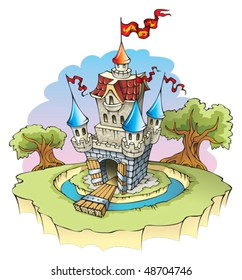 Cartoon fantasy castle, surrounded by water moat, vector illustration