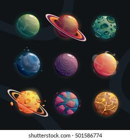 Cartoon fantasy planets set on space background. Vector illustration