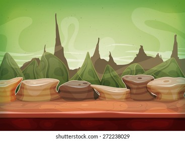 Cartoon Fantasy Sci-fi Martian Background/ Illustration of a cartoon funny alien planet landscape background, with weird mountains range for ui game