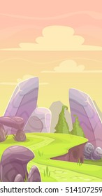 Cartoon fantasy vertical landscape with ground, stones, plants and cloudy sky. Fantastic nature illustration for game location design.