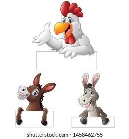 Cartoon farm animal holding blank sign