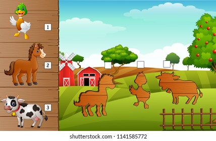 Cartoon farm animals collection set. Find the correct shadow on board. Educational game for children