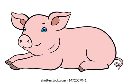 Cartoon farm animals. Little cute piglet lays and smiles.