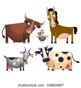 The cartoon farm animals set in flat style. Vector illustration isolated on white background.