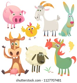 Cartoon farm animals set. Vector illustration. Cow, horse, chicken, bunny rabbit, pig, goat and sheep
