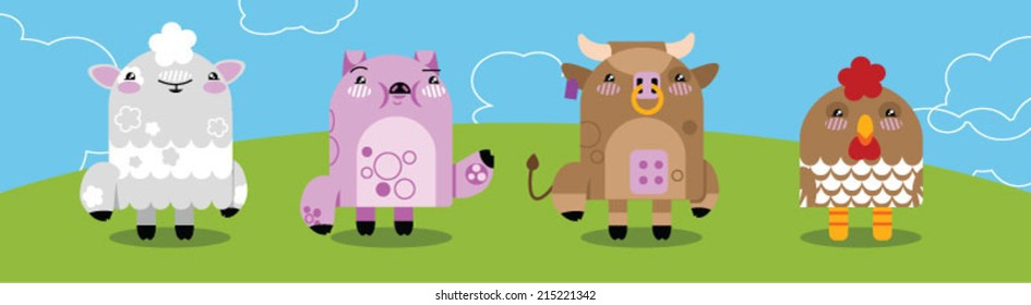 Cartoon farm animals - Vector clip art of sheep, pig, cow,chicken, with background