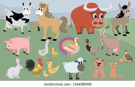 Cartoon farm animals vector. Farmer illustration.