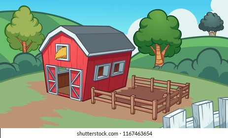 Cartoon farm background. Vector clip art illustration with simple gradients. Some elements on separate layers.