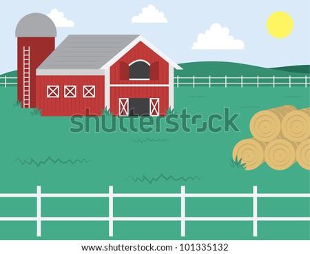 cartoon farm barn white fence stock vector royalty free 101335132