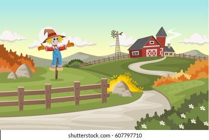 Cartoon farm with big barn and scarecrow