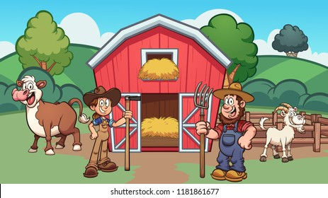 Cartoon farm with farmers, cow and goat. Vector clip art illustration with simple gradients. Some elements on separate layers.
